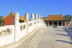 Chinese ancient bridge and palace in Eastern Royal Tombs of the Royalty Free Stock Photography
