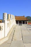 Chinese ancient bridge and palace in Eastern Royal Tombs of the Royalty Free Stock Images