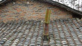 Chinese ancient building roof chimney stock image