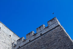 Chinese ancient  city wall. And a bird under the blue sky, the Ancient Observatory Royalty Free Stock Photos