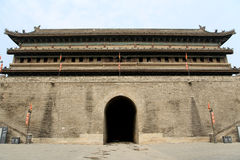 Chinese ancient city wall and gate in Xian city Stock Photo