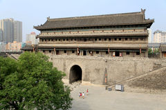 Chinese ancient city wall and gate in Xian city Stock Image