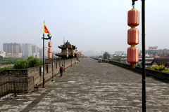 Chinese ancient city wall and gate in Xian city Royalty Free Stock Images