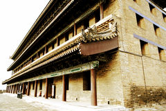 Chinese ancient city wall and gate in Xian city Royalty Free Stock Photo