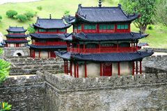 The Chinese Ancient City Wall in Splendid Chinese culture theme park. The theme park of splendid Chinese culture is currently the largest and richest scenic spot stock photography