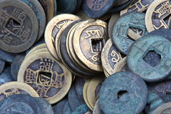 Chinese ancient coins. On round shape royalty free stock images