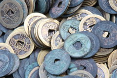 Chinese ancient coins. On round shape Stock Photography