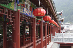 Chinese ancient corridor and red lantern Royalty Free Stock Images