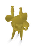 Chinese ancient grail. The tripod pot grail or wine cup of ancient Chinese dynasty Royalty Free Stock Photo