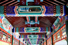Chinese ancient long corridor. Exquisite decoration in the ancient long corridor of China Stock Photos