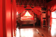 Chinese ancient marriage room stock image