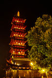 Chinese ancient pagoda at night. Chinese ancient tower at night.It is really delicated as if we went past hundreds of years royalty free stock image