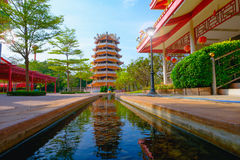Chinese ancient Pagoda and rill under the sky. At Dragon descendants Public museum Royalty Free Stock Photos