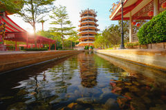 Chinese ancient Pagoda and rill under the sky. At Dragon descendants Public museum Stock Photos