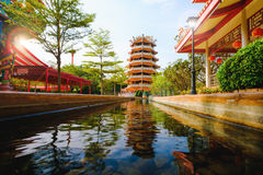 Chinese ancient Pagoda and rill under the sky. At Dragon descendants Public museum Royalty Free Stock Image