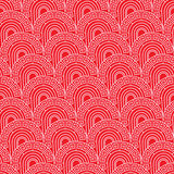 Chinese ancient pattern half circle red seamless pattern Stock Photos