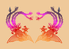 Chinese ancient phoenix pattern Royalty Free Stock Photo