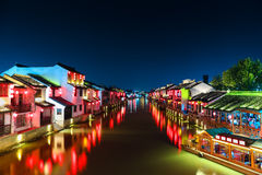 Chinese ancient town with grand canal at night Stock Image