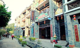 Chinese ancient town street view, old traditional business shopping street in China Royalty Free Stock Photos