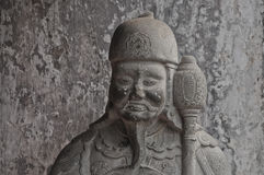 Chinese ancient warrior stone statue Stock Image