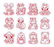 Chinese ancient zodiac animal year symbol. Chinese Zodiac, Twelve animals, Line art Royalty Free Stock Photos