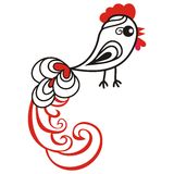 Chinese animal astrological sign red rooster hand-drawn isolated white background symbol 2017 New Year, Christmas card.. Japanese zodiac horoscope banner Stock Image