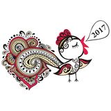 Chinese animal astrological sign red rooster hand-drawn isolated white Stock Image