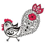 Chinese animal astrological sign red rooster hand-drawn isolated white Royalty Free Stock Photo
