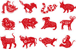 Chinese animal paper-cut. This is a vector diagram.Ancient Chinese see each year as an animal, a total of 12 kinds of animals, monkey, cow,, dragon, snake, horse stock illustration