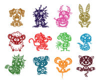 Chinese animals paper cut Royalty Free Stock Photo