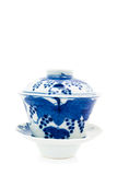 Chinese antique blue and white tea bowl, cover and saucer, Stock Images