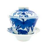 Chinese antique blue and white tea bowl, cover and saucer, Royalty Free Stock Photography