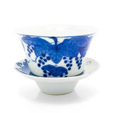 Chinese antique blue and white tea bowl, cover and saucer, Royalty Free Stock Photo
