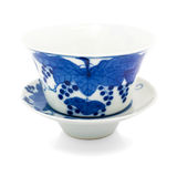 Chinese antique blue and white tea bowl, cover and saucer, Royalty Free Stock Photos