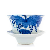 Chinese antique blue and white tea bowl, cover and saucer Stock Photo