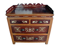 Chinese antique bone-inlay cabinet (isolated). Chinese antique shanghai style bone-inlay cabinet made from rosewood and nanmu wood Stock Image