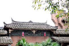 Chinese antique building. Chinese Characteristics antique building, brick roof structure, brackets structure Stock Photo