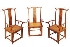 Chinese antique furniture chair. On white, made from rosewood stock photo