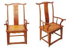 Chinese antique furniture chair on white royalty free stock photo