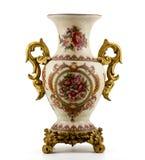 Chinese antique porcelain vase. On white royalty free stock image