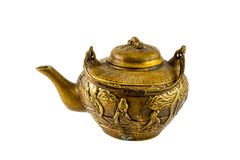 Chinese Antique Tea Kettle 1. Chinese Antique Bronze Tea Pot with Fine Engravings Royalty Free Stock Images
