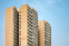 Chinese Apartment Building Tall Highrise Development Living Space Urban City Environment stock photo