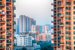 Chinese apartment buildings. View of several apartment buildings in Zhuhai, Guangdong province, China Royalty Free Stock Photos