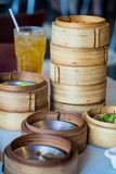 Chinese appetizer, Dimsum, streamed cuisine on bamboo basket Stock Photo