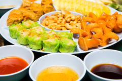 Chinese Appetizers and Three Sauce Style Royalty Free Stock Photo