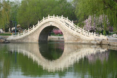 Chinese arch bridge in lake. Chinese traditional arch bridge in Longtanhu park at Beijing china Stock Photos