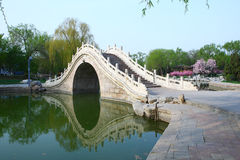 Chinese arch bridge in lake. Chinese traditional arch bridge in Longtanhu park at Beijing china Royalty Free Stock Image