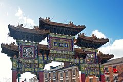 Chinese arch, at the entrance to the chinatown district of Liver Stock Photography