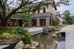 Chinese archaised buildings near water Stock Image