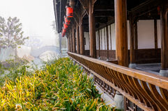 Chinese archaised gallery in foggy winter Royalty Free Stock Image